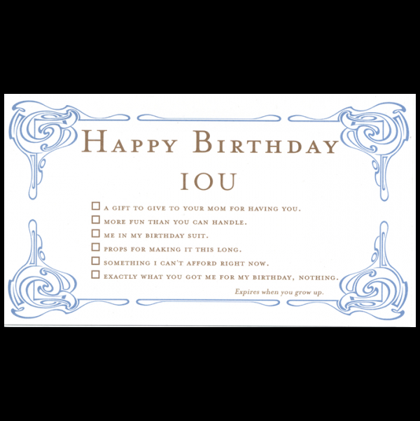 Happy Birthday greeting card from the IOU collection.