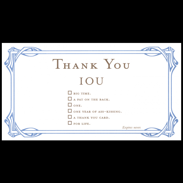 Thank You greeting card from the IOU collection.