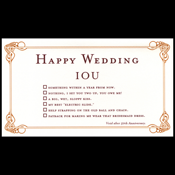 Happy Wedding greeting card from the IOU collection.