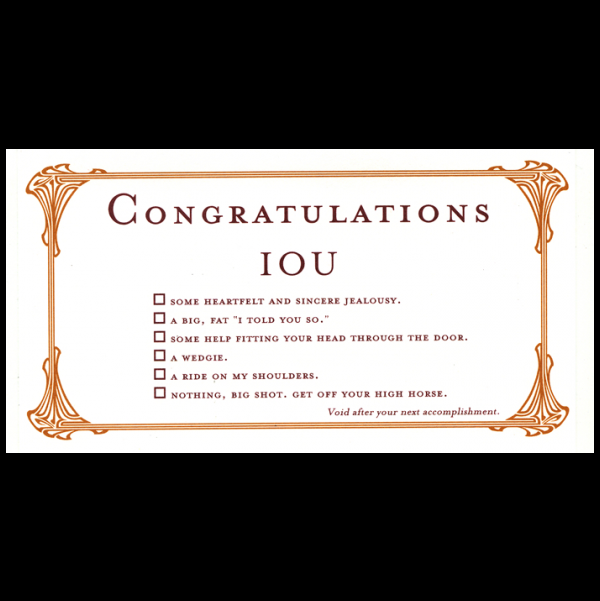 Congratulations greeting card from the IOU collection.