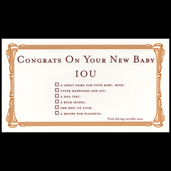 New Baby greeting card from the IOU collection.