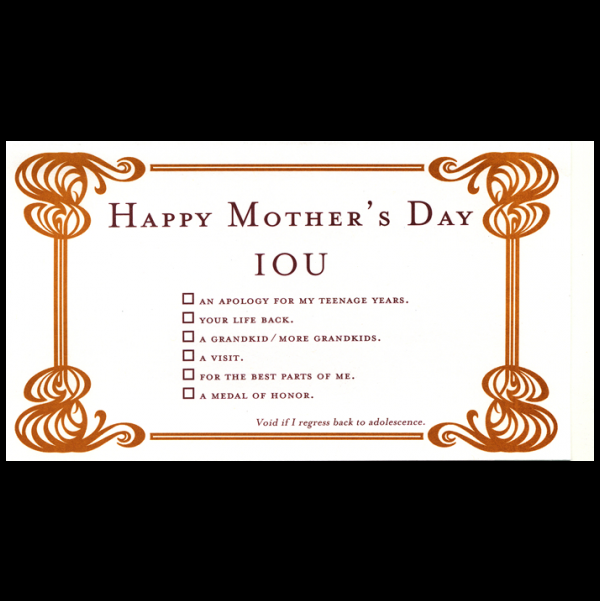 Happy Mother's Day greeting card from the IOU collection.