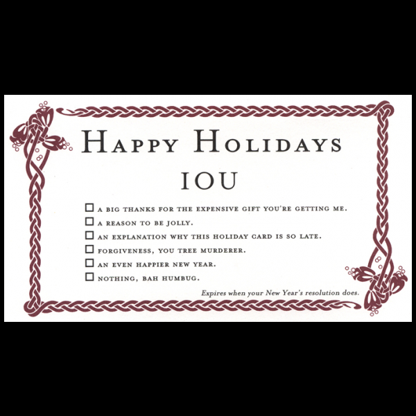 Happy Holidays greeting card from the IOU collection.