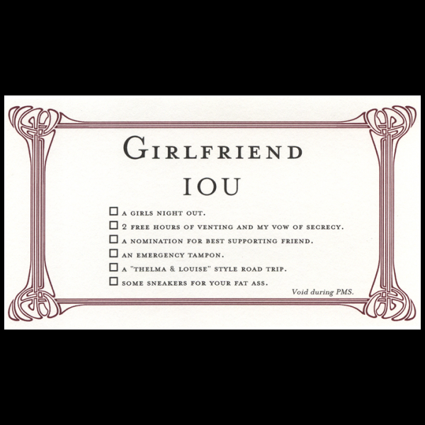 Girlfriend greeting card from the IOU collection.