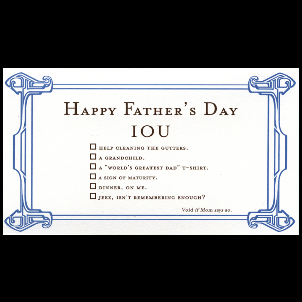 Happy Father's Day greeting card from the IOU collection.