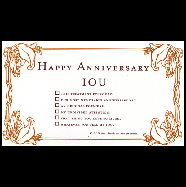 Happy Anniversary greeting card from the IOU collection.