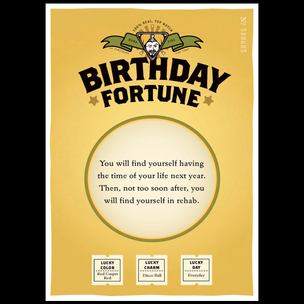 Birthday Rehab greeting card from the Misfortunes collection.