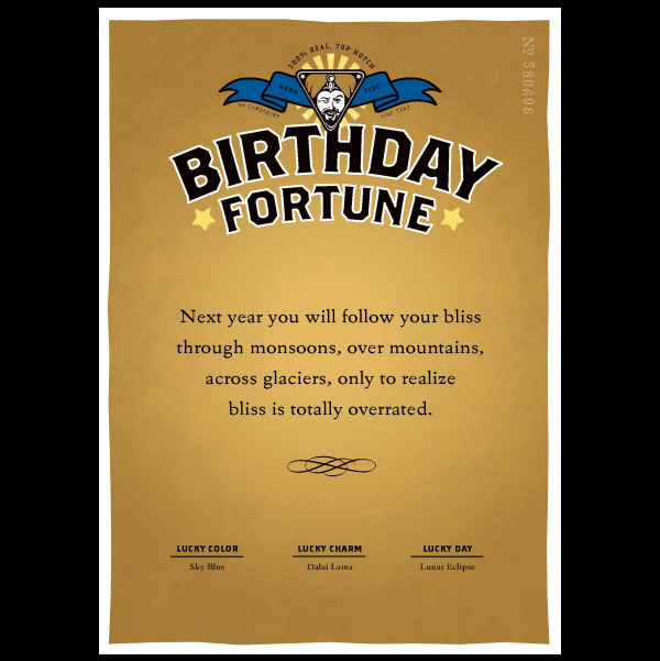 Birthday Bliss greeting card from the Misfortunes collection.