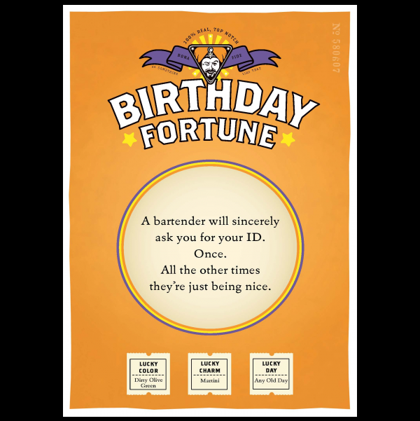 Birthday ID greeting card from the Misfortunes collection.