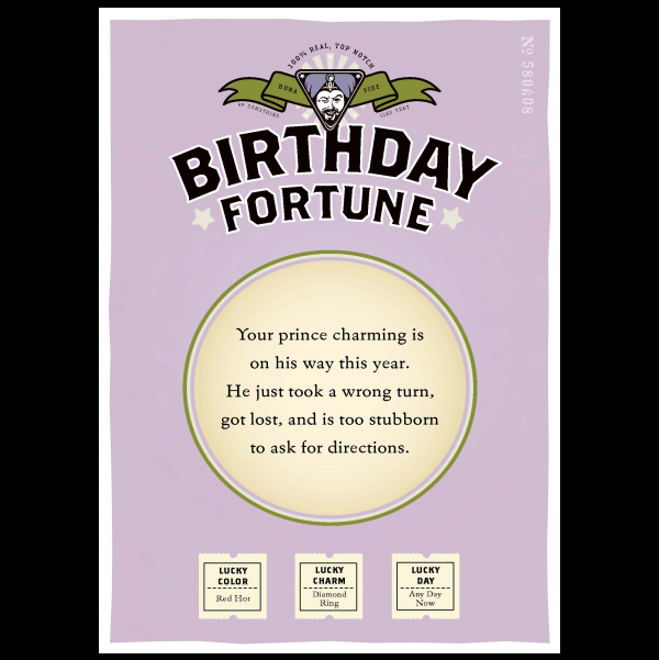Birthday Prince Charming greeting card from the Misfortunes collection.