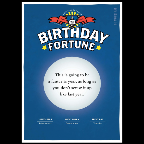 Birthday Screw Up greeting card from the Misfortunes collection.