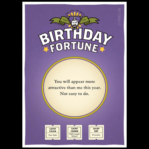 Birthday Attractive greeting card from the Misfortunes collection.
