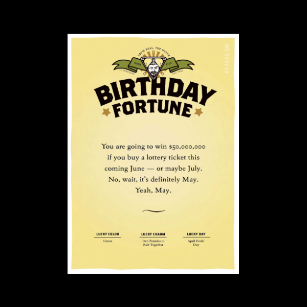 quiplip  birthday lottery greeting card from the misfortunes, Birthday card