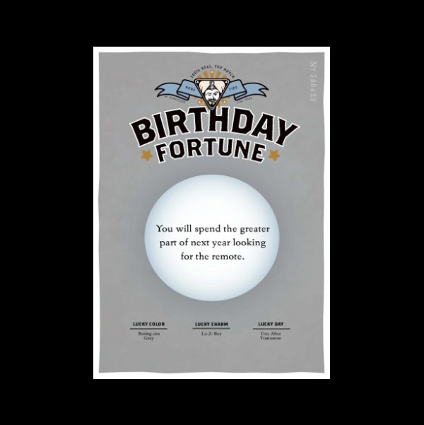 Birthday Remote greeting card from the Misfortunes collection.