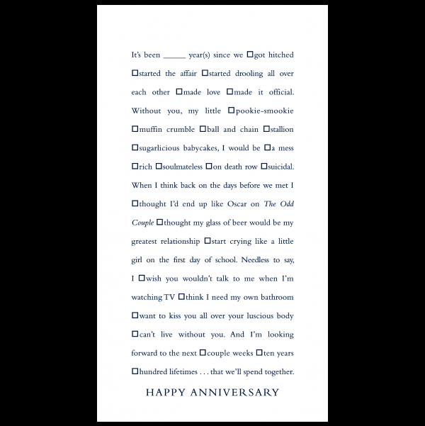 Happy Anniversary greeting card from the Clever Cards collection.