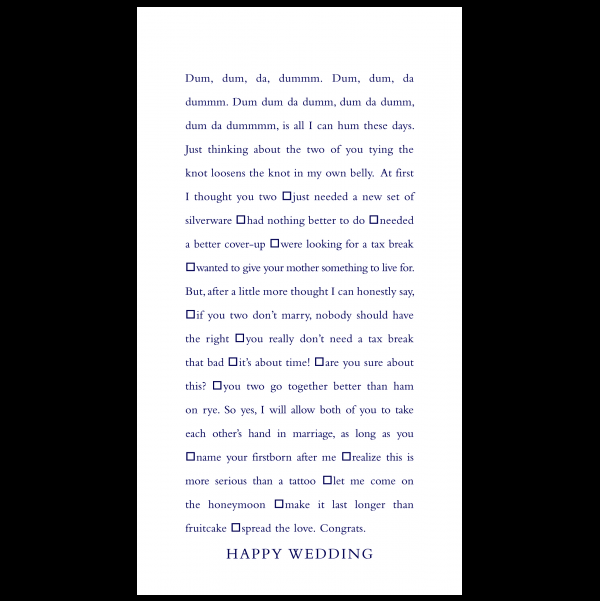 Happy Wedding greeting card from the Clever Cards collection.