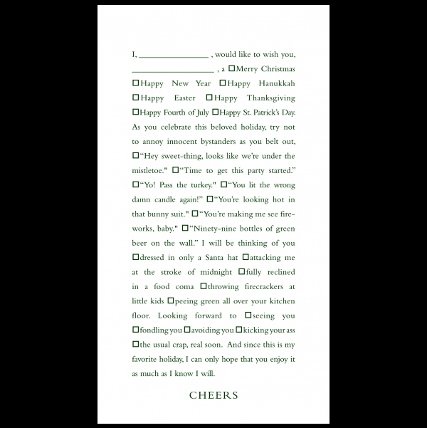 Cheers greeting card from the Clever Cards collection.