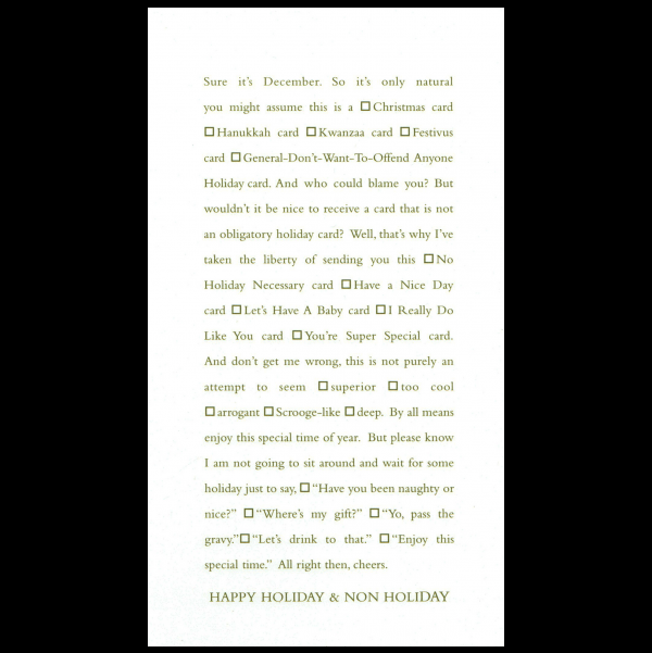 Happy Holiday and Non Holiday greeting card from the Clever Cards collection.