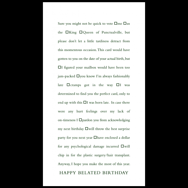 Happy Belated Birthday greeting card from the Clever Cards collection.