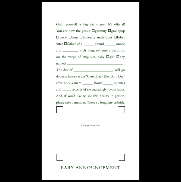 Baby Announcement greeting card from the Clever Cards collection.
