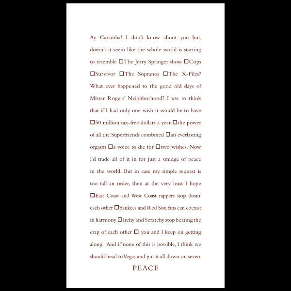 Peace greeting card from the Clever Cards collection.