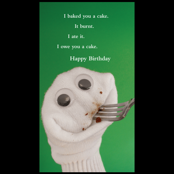 Quiplip Funny Happy Birthday card greeting card from the Sock – Clever Birthday Greetings