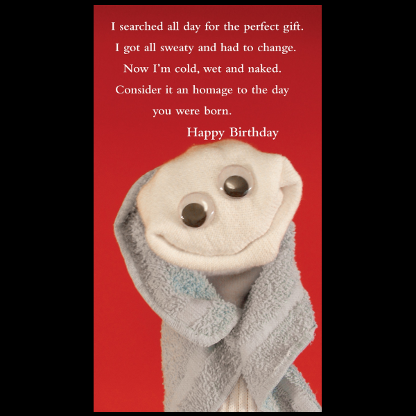 Happy Birthday greeting card from the Sock 'ems collection.
