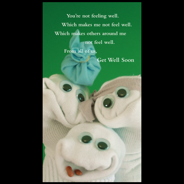 Get Well Soon greeting card from the Sock 'ems collection.