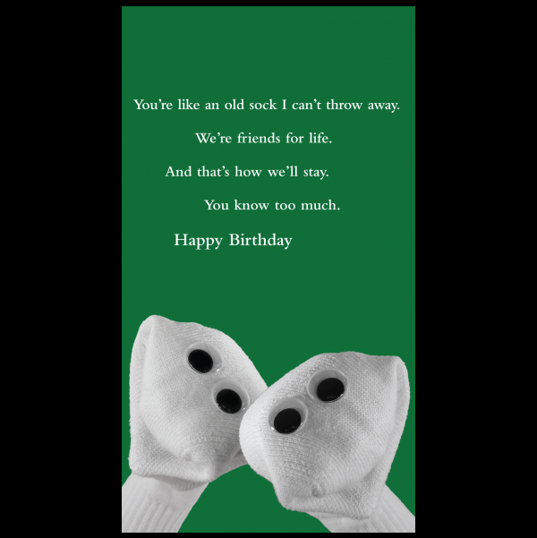 Old Sock Birthday greeting card from the Sock 'ems collection.