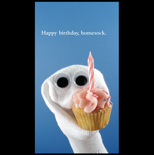 Birthday homesock greeting card from the Sock 'ems collection.