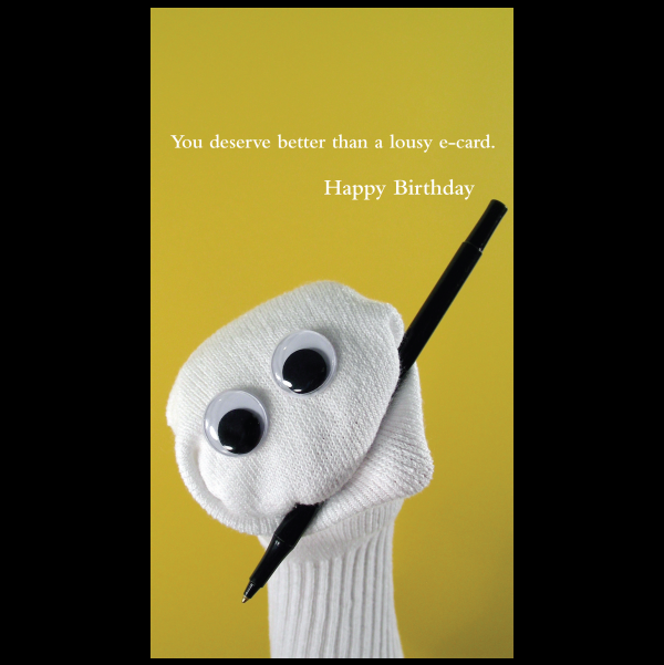 Birthday e-card greeting card from the Sock 'ems collection.