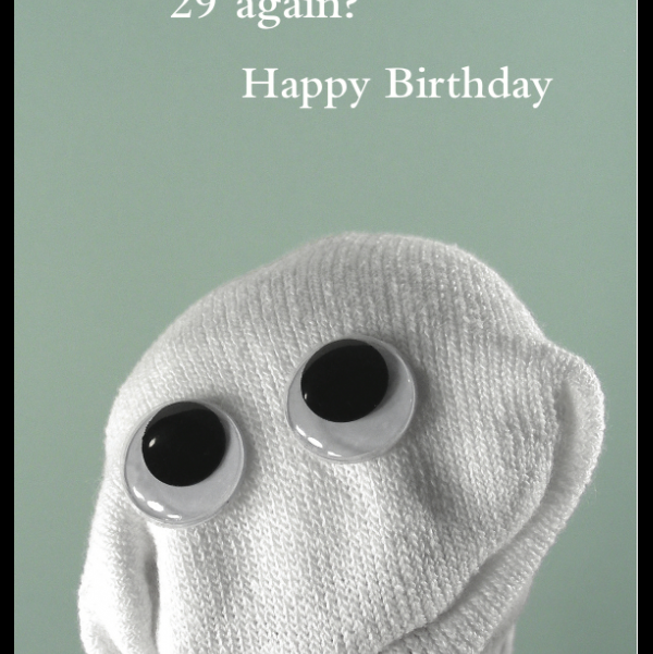 29 again Birthday card greeting card from the Sock 'ems collection.