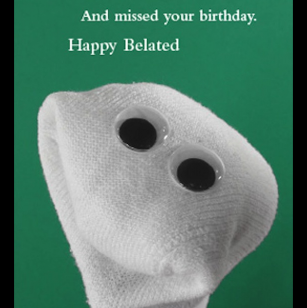 Belated Birthday card greeting card from the Sock 'ems collection.