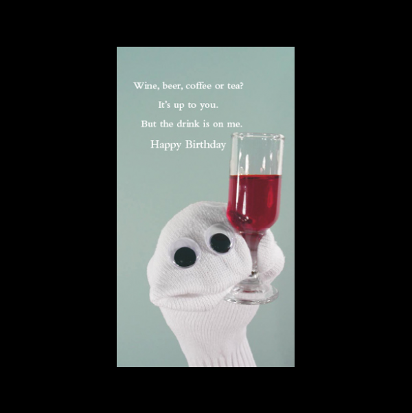 Quiplip Birthday Drink Card Greeting Card From The Sock Ems Collection