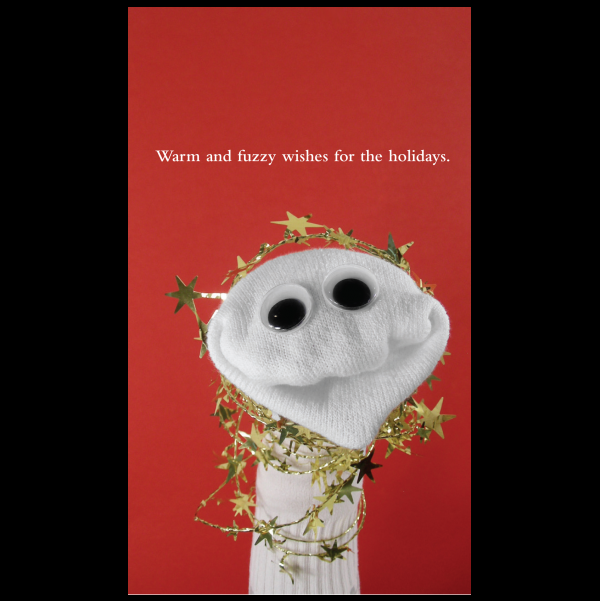Warm and fuzzy holiday card greeting card from the Sock 'ems collection.