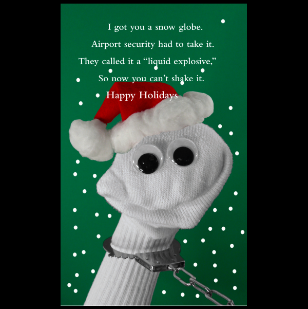 Quiplip funny holiday card snow globe greeting card from the sock funny holiday card snow globe greeting card from the sock ems collection m4hsunfo