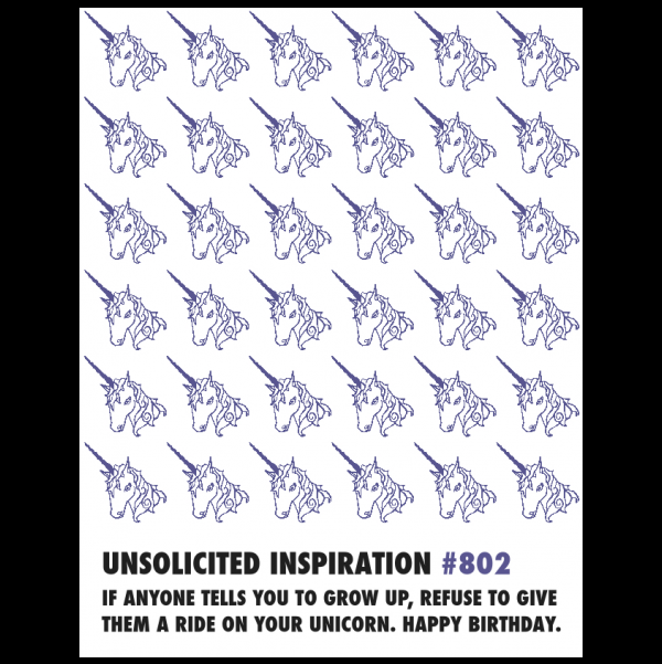 Unicorn Birthday greeting card from the Unsolicited Inspirations collection.
