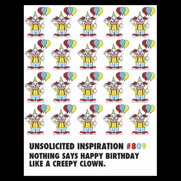 Creepy Clown Birthday greeting card from the Unsolicited Inspirations collection.