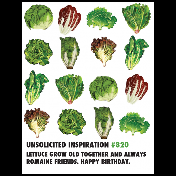 Birthday Lettuce greeting card from the Unsolicited Inspirations collection.