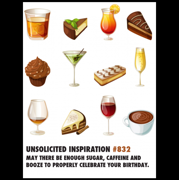 Birthday Sugar & Booze greeting card from the Unsolicited Inspirations collection.