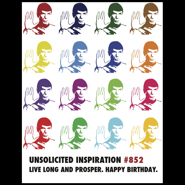 Live Long Birthday Spock greeting card from the Unsolicited Inspirations collection.