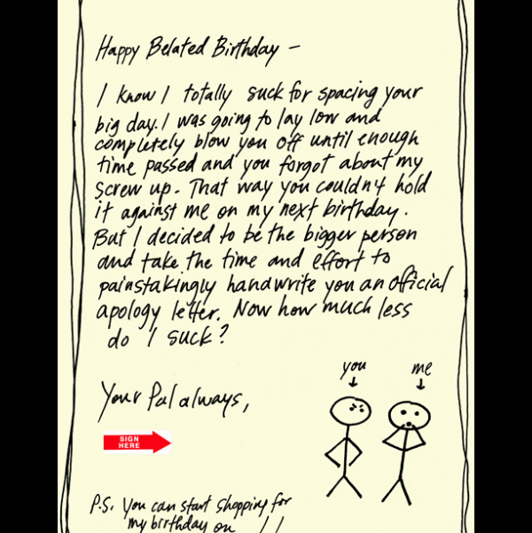 Birthday Suck greeting card from the Yours Truly collection.